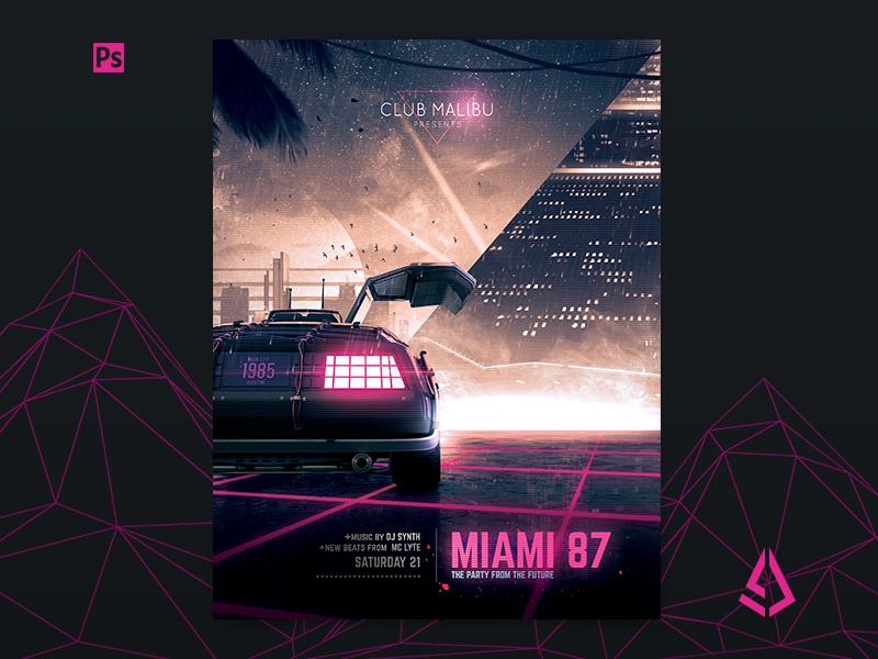 Synthwave Flyer v3 Neon Miami Retrowave Poster by Storm