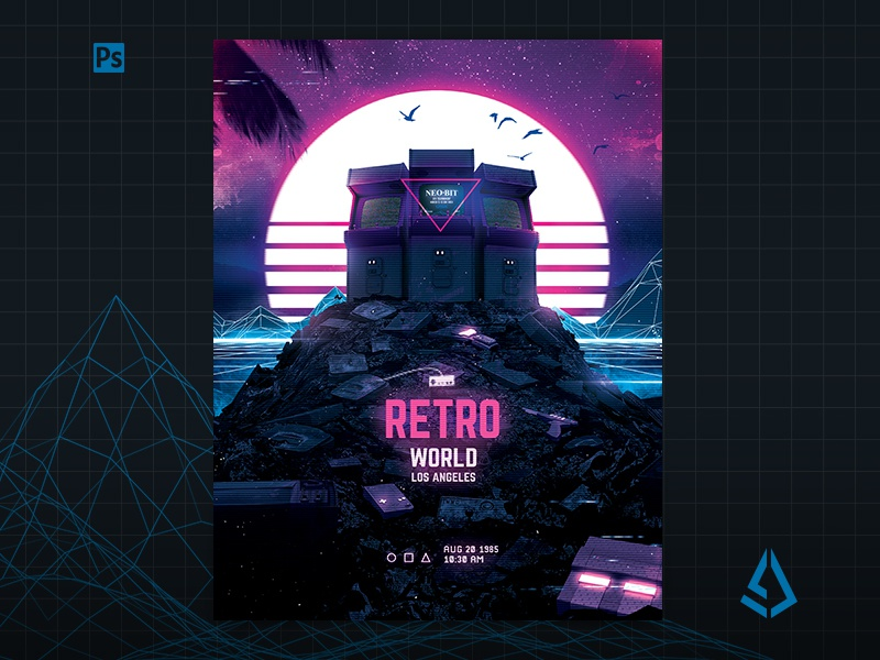 Retro Gaming Flyer v7 Synth World Neon Poster by Storm Designs on