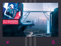 Sci-fi Retrowave Party Flyer Synthwave Poster Template