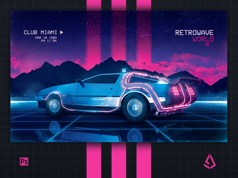 New Wave Flyer v4 Synthwave Poster Layout Retrowave World by