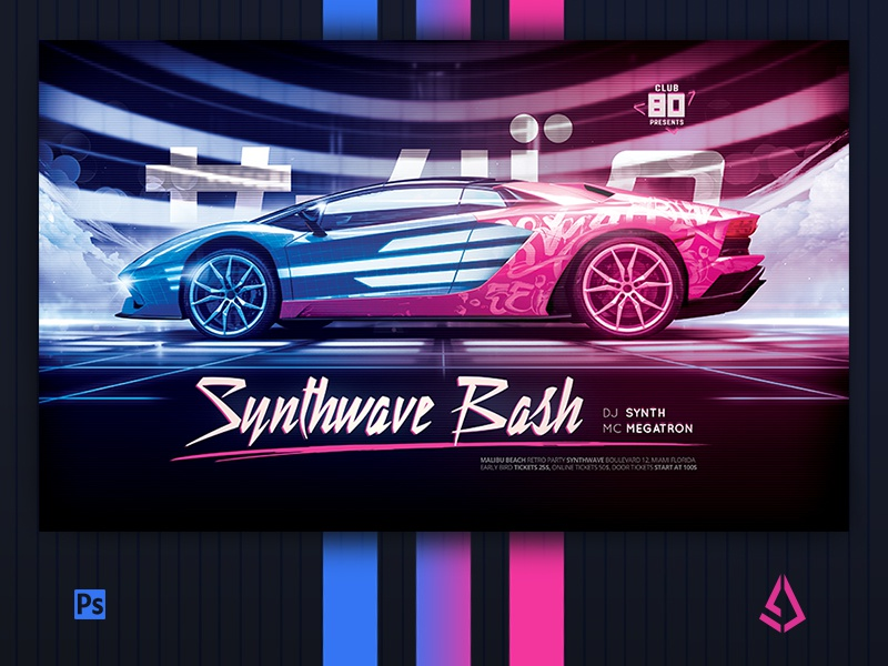 New Wave Flyer v5 Retrowave Car Synthwave Poster by Storm