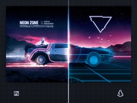 New Retrowave Poster Synthwave Delorean Electro Flyer