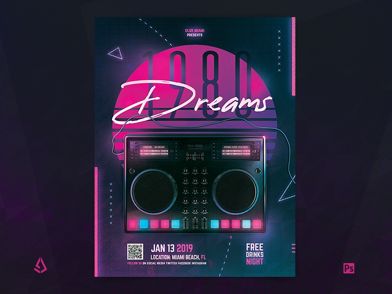 80s Flyer Retrowave Poster Synthwave DJ Disco Dance Party by