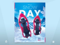 Winter Camping Flyer Snowshoeing Poster Outdoor Hiking Template