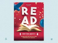 Reading Across America Flyer Template Children School Read Day