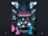 March Madness Flyer Basketball College Final Four Game Template