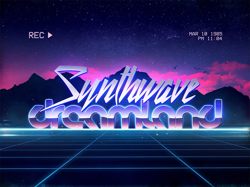 Synthwave Retrowave 80s 1980s Text Effects Styles Photoshop by Storm