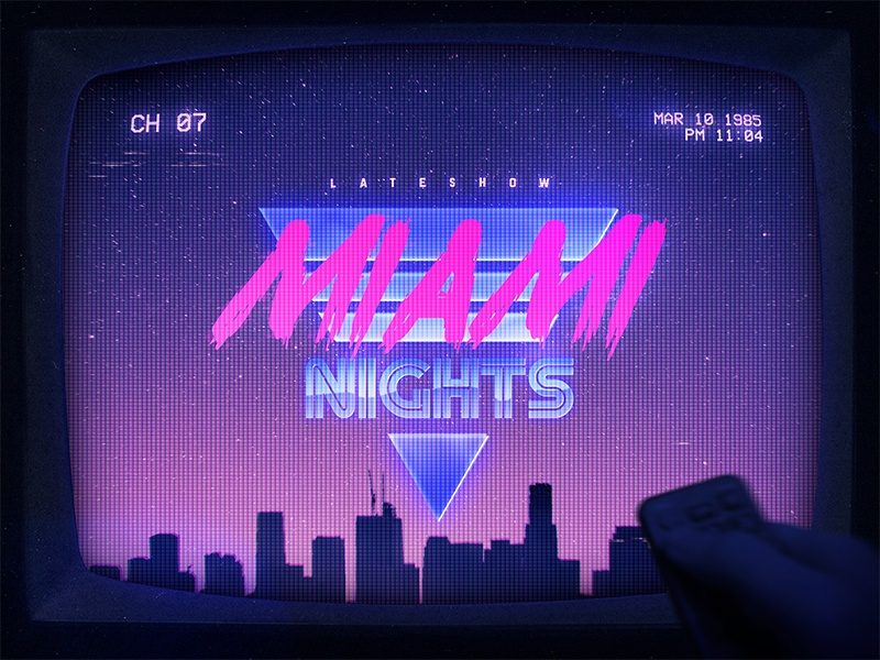 Miami Retrowave Flyer 80s Text Effects Styles Photoshop scanlines crt aesthetics cyberpunk outrun smart objects photoshop flashback new retrowave texts electro neon 1980s 80s effects new wave vaporwave text styles retrowave synthwave