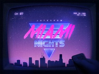 Miami Retrowave Flyer 80s Text Effects Styles Photoshop