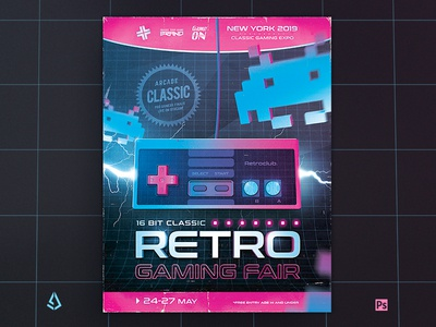 Classic Video Games Flyer 1980s Retro Gaming NES Poster
