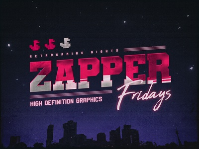 Zapper Fridays New Retro 80s Gaming NES Texts Effects aesthetics cyberpunk actions outrun smart objects photoshop flashback new retrowave texts electro gaming 1980s 80s effects new wave vaporwave template text styles retrowave synthwave