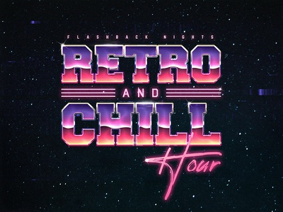 Retro And Chill Template 1980s New Wave Chrome Text Style metallic metal chrome aesthetics outrun photoshop flashback new retrowave texts electro gaming 1980s 80s effects new wave vaporwave template text styles retrowave synthwave