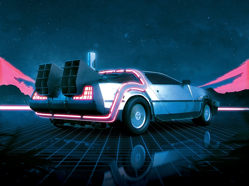 New Synthwave 80s Flyer DeLorean 1980s Retro Poster by Storm Designs
