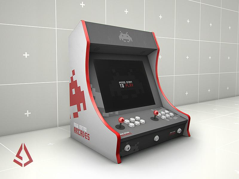 Retro Gaming Bartop Arcade Cabinet Mockup Template by Storm