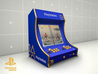 Sony Playstation Arcade Bartop Cabinet Mockup Retro Gaming
