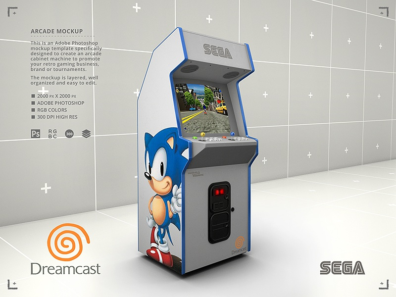 Sega Dreamcast Arcade Cabinet Sonic The Hedgehog Retro