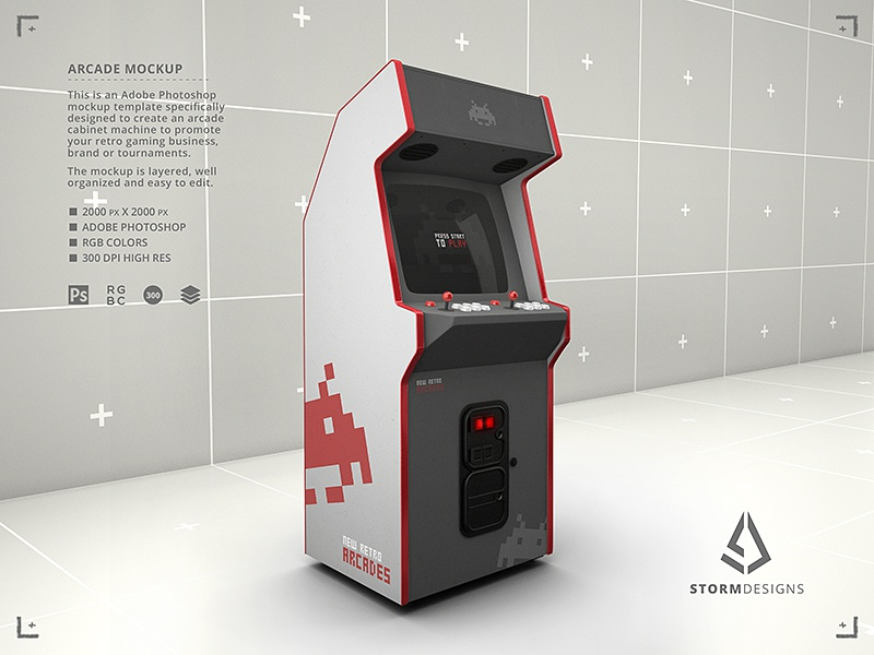 Retro Gaming Arcade Cabinet Machine Mockup Template By Storm