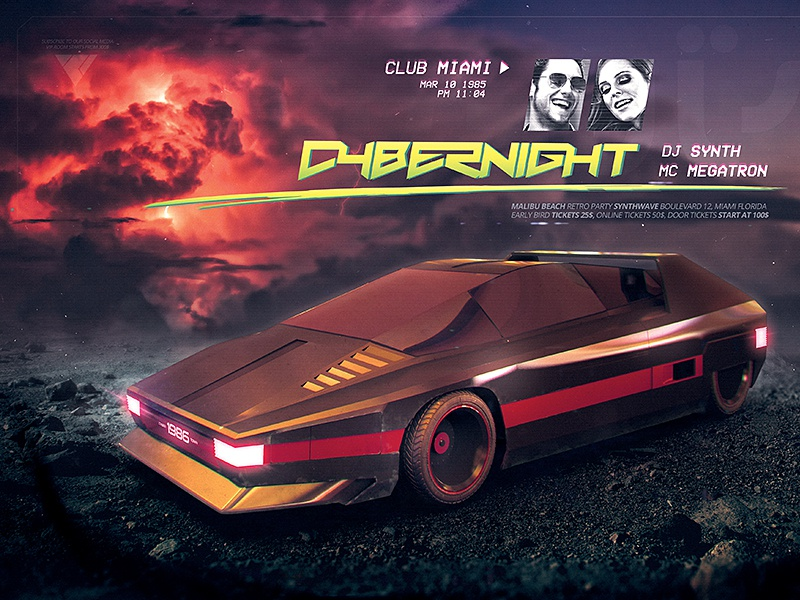 Synthwave Flyer v7 Cyberpunk Nights Retro Wave Template by Storm
