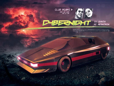 Synthwave Flyer v7 Cyberpunk Nights Retro Wave Template