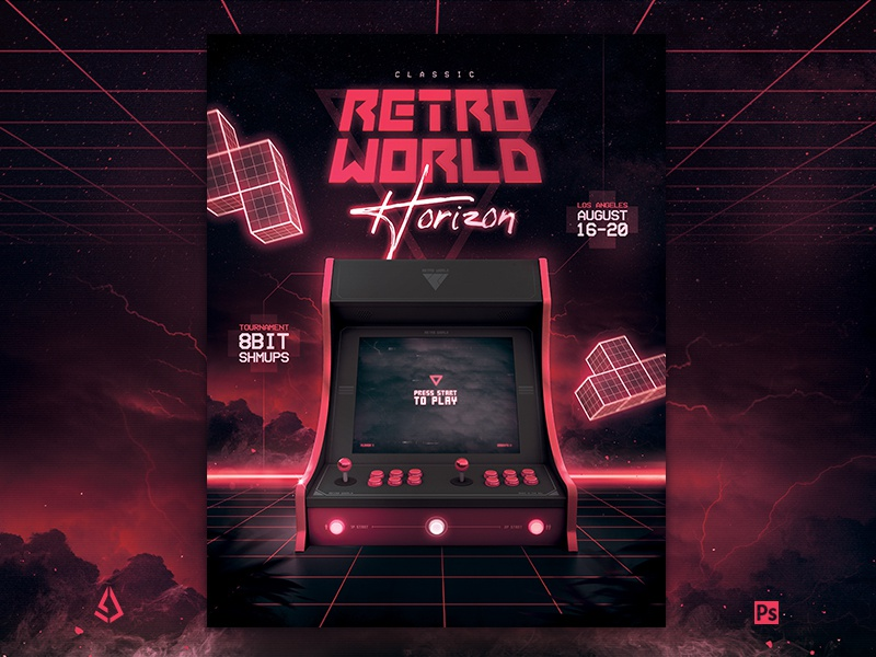 Retro Gaming Flyer 80s Synthwave Arcade Cabinet Mock Up Template by