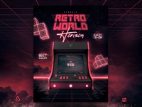 Retro Gaming Flyer 80s Synthwave Arcade Cabinet Mock Up Template