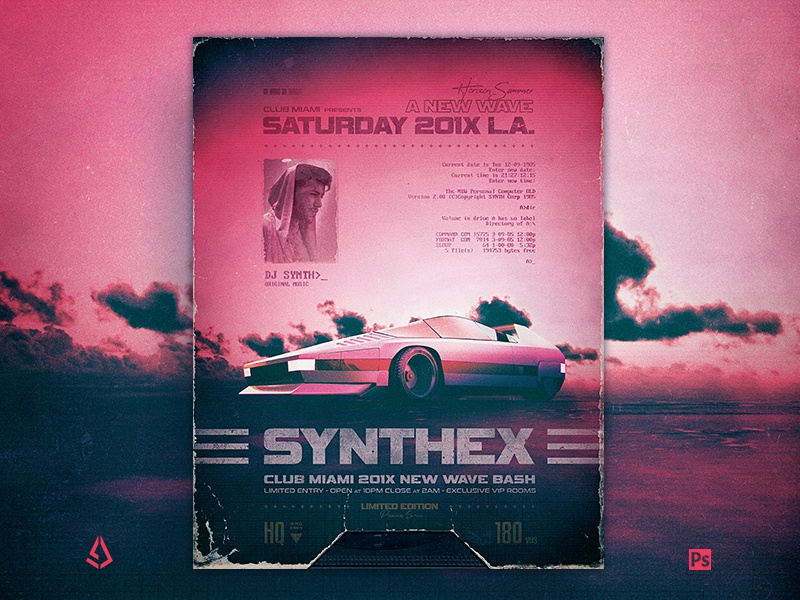 Synthwave Flyer v10 80s Retro Wave Poster Template by Storm Designs