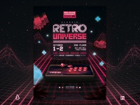Retro Gaming Flyer Arcade Stick 80s VHS Template