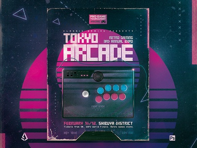 Arcade Stick 80s Retro Gaming Poster Flyer Template