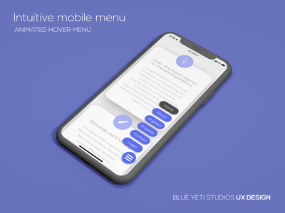 Intuitive Mobile Menu clean minimal ui blueyetistudios web nav menu ux animation ux intuitive mobile webdesign