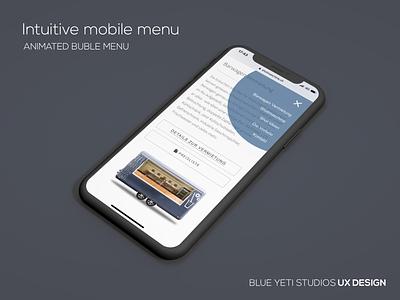 Intuitive Mobile Menu animation clean minimal ui blueyetistudios web nav menu ux intuitive mobile webdesign