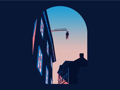 Social distancing blue draw praha travel vector color 2d illustration prague social distancing