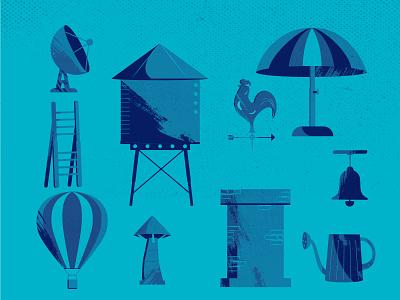 Objets city city bleu grain texture badges urban art 2d flatdesign color vector illustration