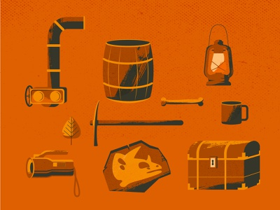 Object adventure avatars aventure orange exploration underground vector flatdesign 2d color illustration