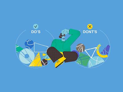 DO'S? OR DONT'S? bussiness motif illustrations hands man person ui flatdesign design vector 2d color character illustration