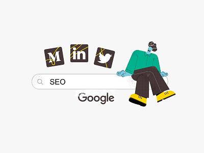 SEO navigator man person google seo data flatdesign design vector color 2d character illustration