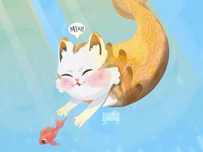 Gato sirena illustrator dibujodigital illustration