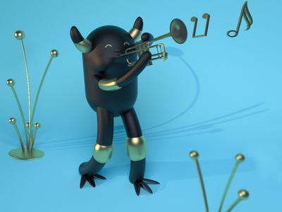Mostri swing 🎺🎶🎵 maxonc4d art animation character design c4d illustration