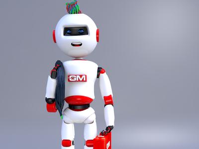 Robot GM branding maxon logo characterdesing character art maxonc4d illustration design c4d animation