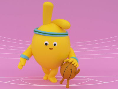 Otto & ball diseño basketball ballons web maxon characterdesing art character maxonc4d illustration c4d design animation