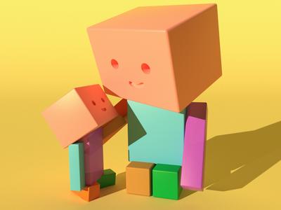 box mon and baby box diseño web characterdesing character art maxonc4d illustration design c4d animation