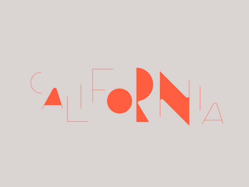 California Cafe modern mid century mid mod pink red california cafe logo