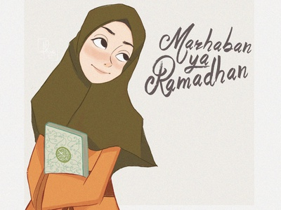 Marhaban Ya Ramadhan girl islamic illustration design