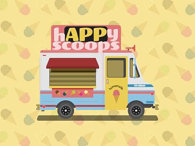 hAPPy scoops cone illustration truck cream ice app scoops happy