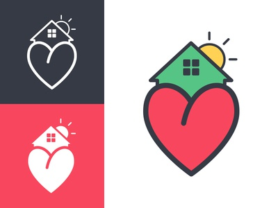 Alvarado's Family Care Home center senior hope sun house heart illustration logo home care family alvarados