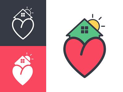 Alvarado's Family Care Home center senior hope sun house heart illustration logo home care family alvarados