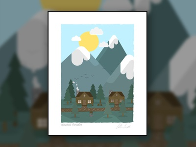 Mountain Paradise forest sun mountains cabin log illustration poster print paradise mountain
