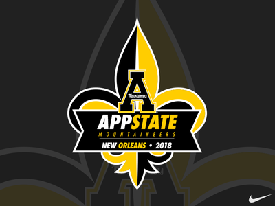 2018 AppState New Orleans Bowl Logo gold black and gold black 2018 athletic logo fleur de lis new orleans mountaineers illustration champions bowl logo football appstate appalachian state app