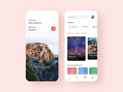 Travel concept app clean modern device app ux ui designs mobile traveling trend minimal interface