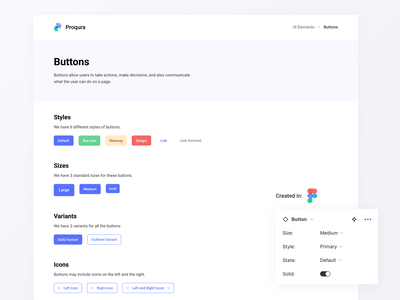 Proqura Design Library: Buttons design library design system component library app modern clean design ui ux figma variants buttons button components components ui library button library