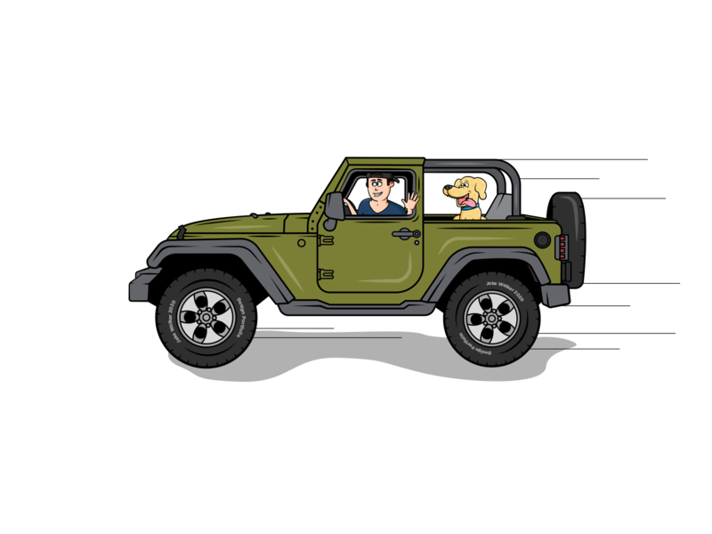 My Jeep character design icon drawing illustration ai vector design